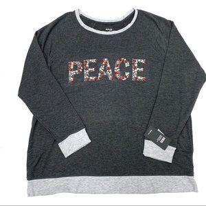 Style CO women holiday sweater gray 1X crewneck
